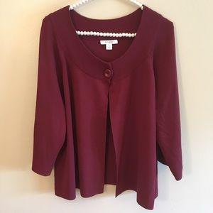 Dressbarn one button maroon light sweater size 1x